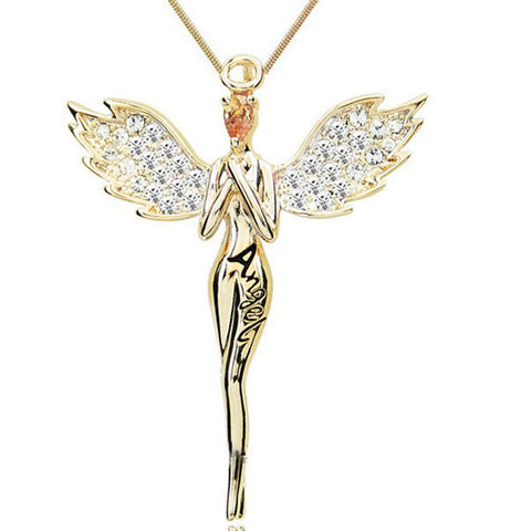 Angel Wing With Crystal Pendant Necklace❤❤❤