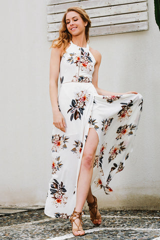 Beach summer women floral print halter chiffon long Sexy backless maxi dresses❤❤❤