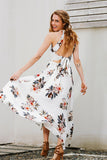 Beach summer women floral print halter chiffon long Sexy backless maxi dresses❤❤❤ - testing000000