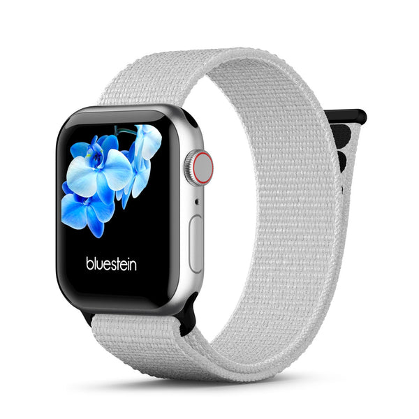 Reflektierendes Watchpop Nylon Armband für Apple Watch 1 bis 6 Weiß.