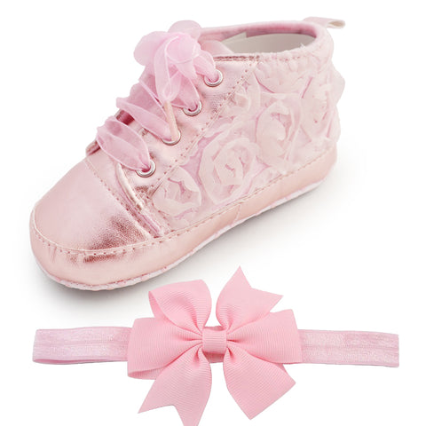 Fashion Flower Soft Baby Shoes & Headband (Set)