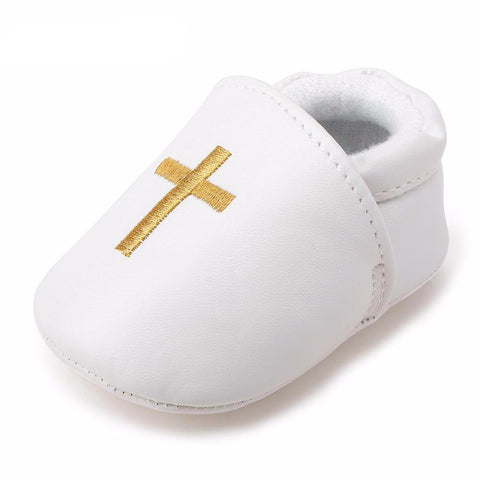 Christening Baby Shoes For Newborn Baptism with Cross