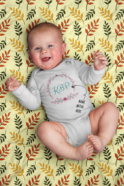 [FREE Shipping + 15% Off] Unique Gift Personalized Initial Colorful Wreath Blossom Baby Body Suit Family Matching Clothing Set [Expiry : Oct 12 (Fri)]