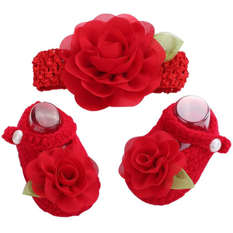 Newborn Collection (Set) :  Rose Red Flowers Woolen Shoes & Headband For Newborn Baby Girl (In One Set)! (Item Code : NCR1)