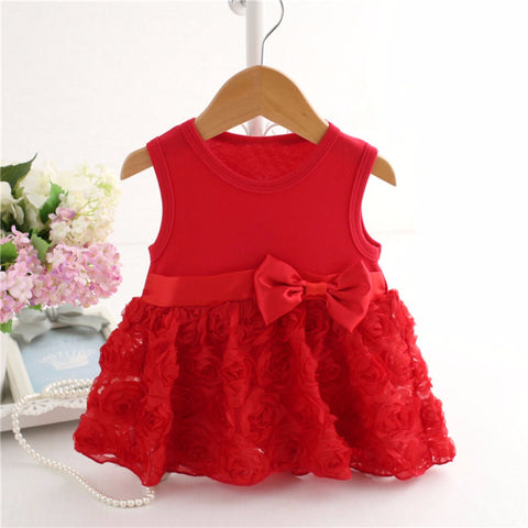 2018 New Baby Girls Red Flower Dresses (0-5 Years)