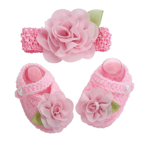 Newborn Collection (Set) :  Pink Flowers Woolen Shoes & Headband For Newborn Baby Girl (In One Set)!
