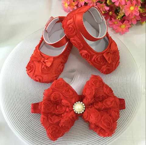 Red Flowers Shoes & Princess Lace Headband For Cute Baby Girl (In One Set)!