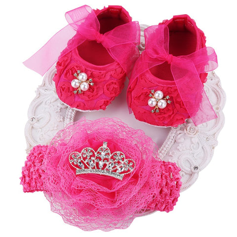 Princess Crown Headband + Rhinestone Baby Shoes