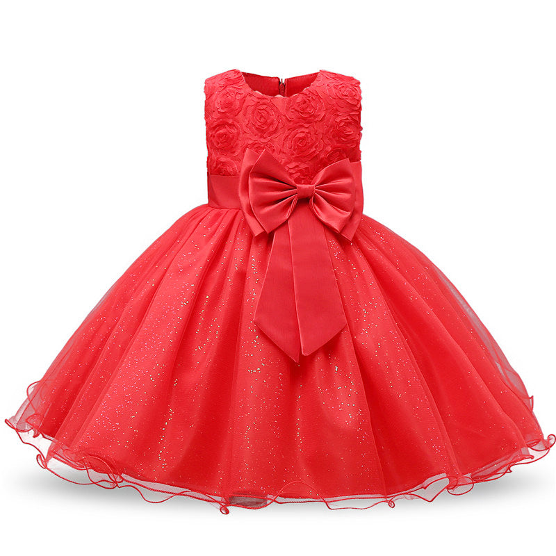 Girl Sequin Tutu Dress Toddler Cute Flower Princess Party Wedding Tulle Gown Hot