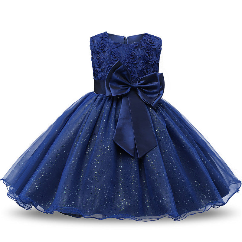 483137a377c Little Girls  3D Flower Formal Wedding Bridesmaid Party Dress Sequin Dress  Princess Tulle Dresses (Cool Color Series)