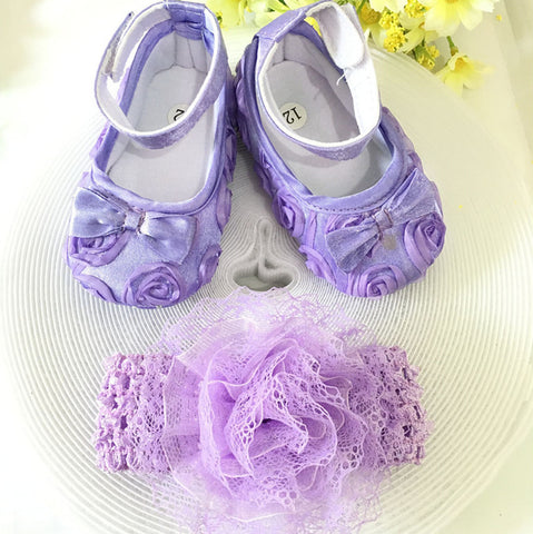 Little Purple Flowers Shoes & Princess Lace Headband! (In One Set)!