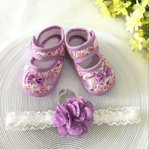 Purple Floral Toddler Shoes & Princess Lace Headband (In One Set)!