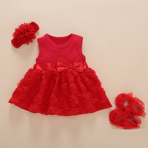 New Arrival Baby Girls Lace Red Floral Dress Set (0-2years)