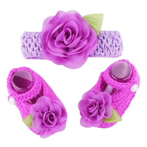 Purple Flowers Woolen Shoes & Headband For Newborn Baby Girl (In One Set)!