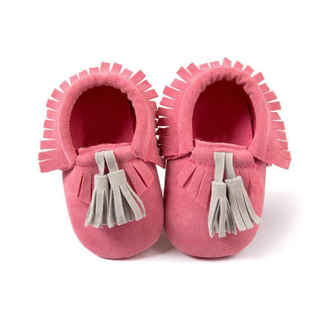Magenta Moccasin with Gray Tassel - Soft PU Leather For Baby & Toddler