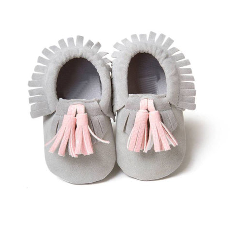 Gray Moccasin with Pink Tassel - Soft PU Leather For Baby & Toddler