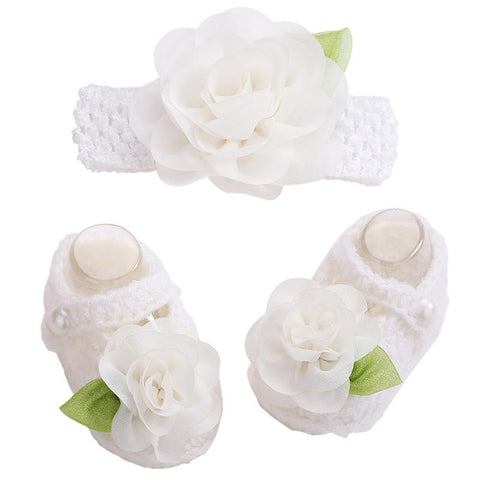 Snow White Flowers Woolen Shoes & Headband For Newborn Baby Girl (In One Set)
