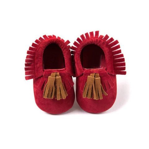 Red Moccasin with Brown Tassel - Soft PU Leather For Baby & Toddler
