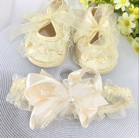 Yellow Flowers Shoes & Princess Lace Headband For Cute Baby Girl (In One Set)!