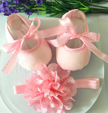 Pink Toddler Shoes & Princess Lace Headband (In One Set)!