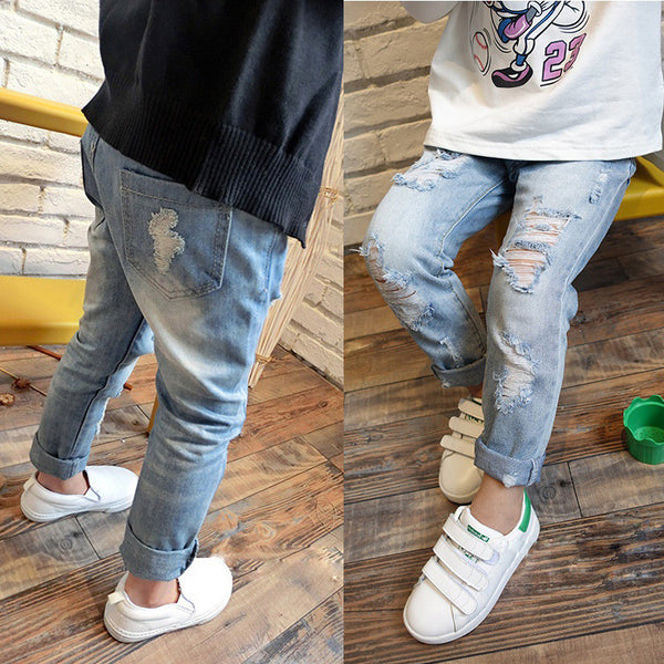 Boy's & Girls Ripped Jeans