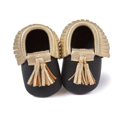 Black Moccasin with Gold Tassel - Soft PU Leather For Baby & Toddler