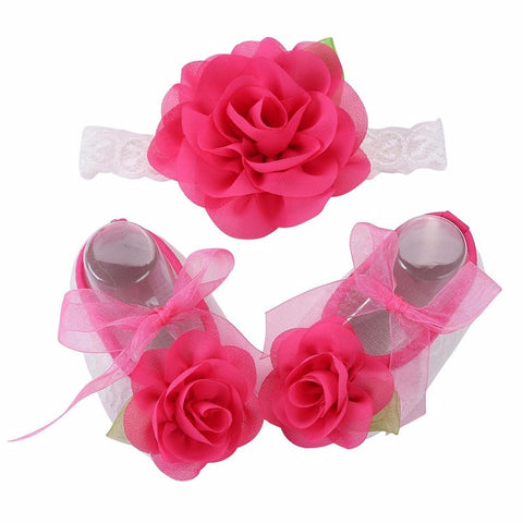 Angel Collection (Set) : Deep Pink Flowers Shoes & Angel Lace Headband For Baby Angel (In One Set)!