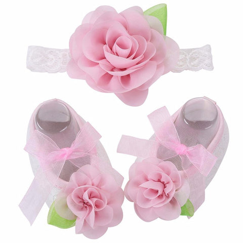 Angel Collection (Set) : Pink Flowers Shoes & Angel Lace Headband For Baby Angel (In One Set)!