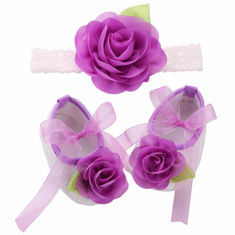 Purple Flowers Shoes & Angel Lace Headband For Baby Angel