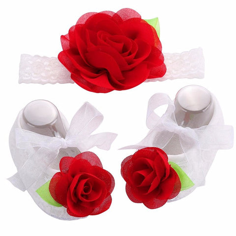 Angel Collection (Set) : Red Rose Flowers Shoes & Angel Lace Headband For Baby Angel (In One Set)!