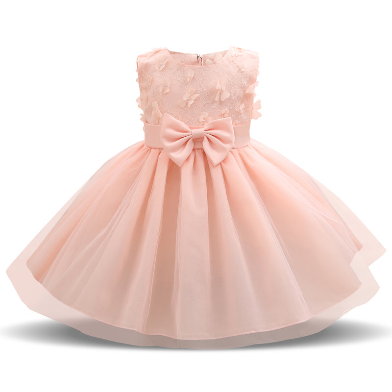 Girl Princess Flower Bow Knot Lace Baby Girls Party Dress ...