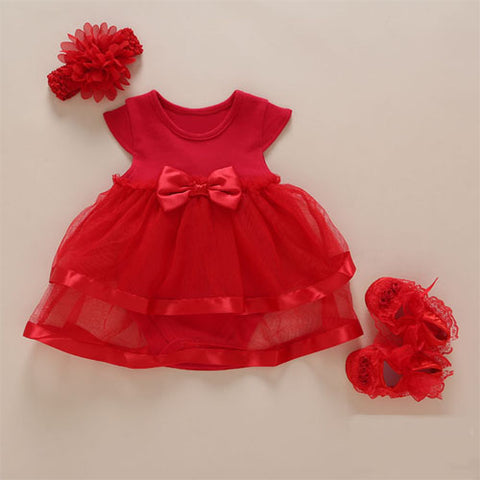 New Arrival Baby Girls Lace Red Classic Dress Set (0-2years)