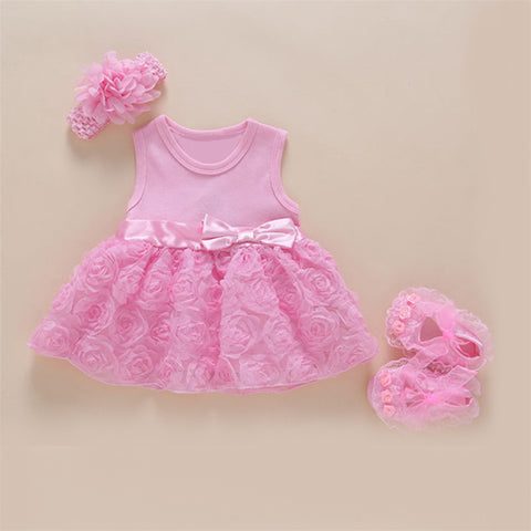 New Arrival Baby Girls Lace Pink Floral Dress Set (0-2years)