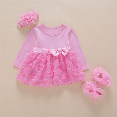 New Arrival Baby Girls Lace Pink Sleeve Floral Dress Set (0-2years)