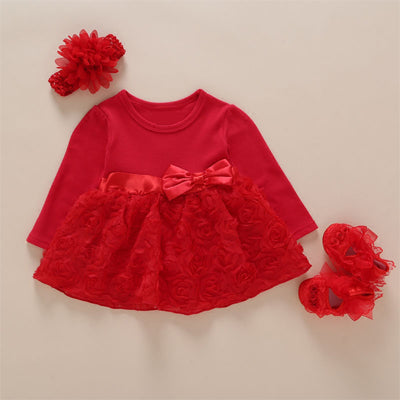 New Arrival Baby Girls Lace Red Sleeve Floral Dress Set (0-2years)