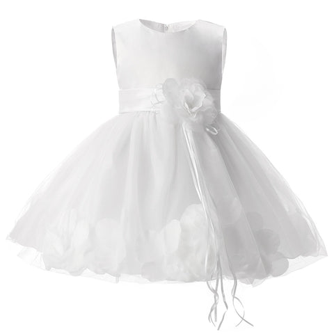 Girl Tutu Color Flower Petals Bow White Bridal Dress for Toddler Girl ( 4 - 24 Months )