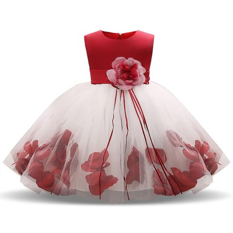 Girl Tutu Flower Petals Bow Bridal Dress for Toddler Girl ( 4 - 24 Months )