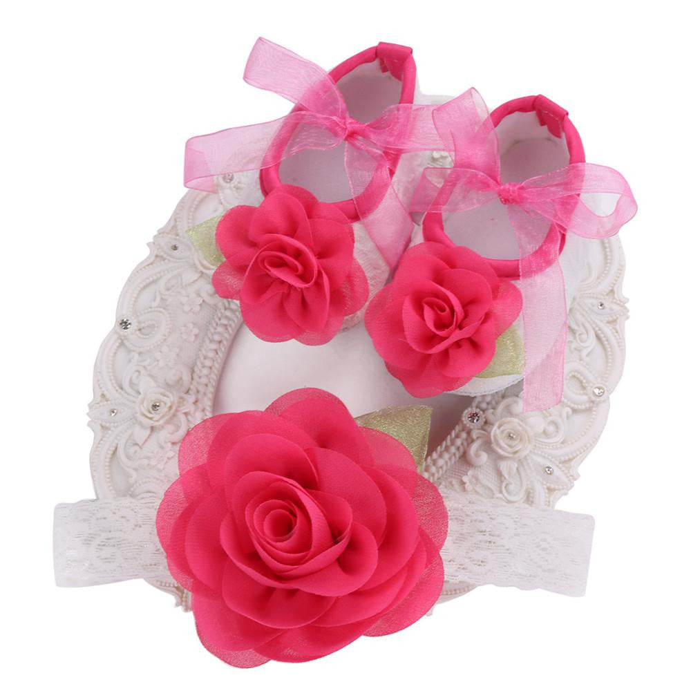 Angel Collection Set Deep Pink Flowers Shoes Angel Lace