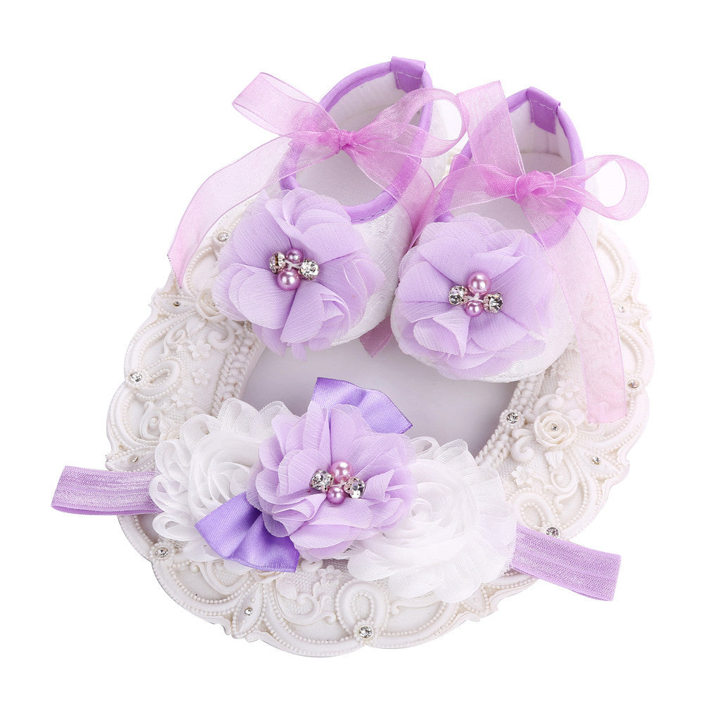 Fairy Collection (Set) : Purple Bead Flowers Shoes & Fairy Lace Headband For Baby Girl (In One Set)! (Item Code : FCP2)