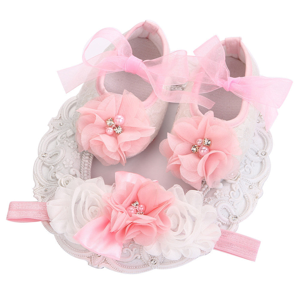 Fairy Collection (Set) : Pink Bead Flowers Shoes & Fairy Lace Headband For Baby Girl (In One Set)! (Item Code : FCP1)