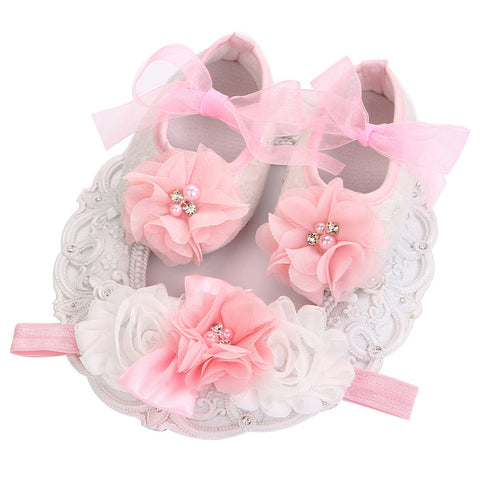 Angel Collection (Set) : Pink Bead Flowers Shoes & Angel Lace Headband For Baby Angel (In One Set)!