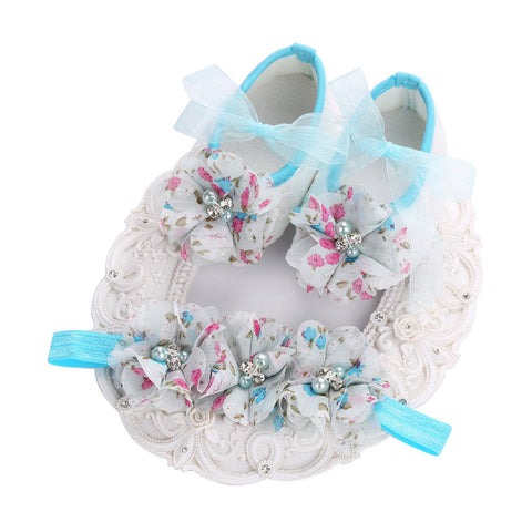 Fairy Collection (Set) : Blue Floral Bead Flowers Shoes & Fairy Lace Headband For Baby Girl (In One Set)! (Item Code : FCB1)