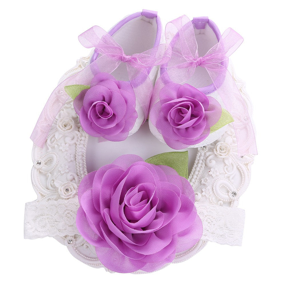 Angel Collection Set Purple Flowers Shoes Angel Lace Headband
