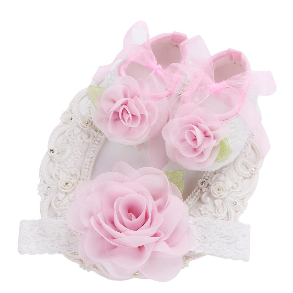 Angel Collection Set Pink Flowers Shoes Angel Lace Headband