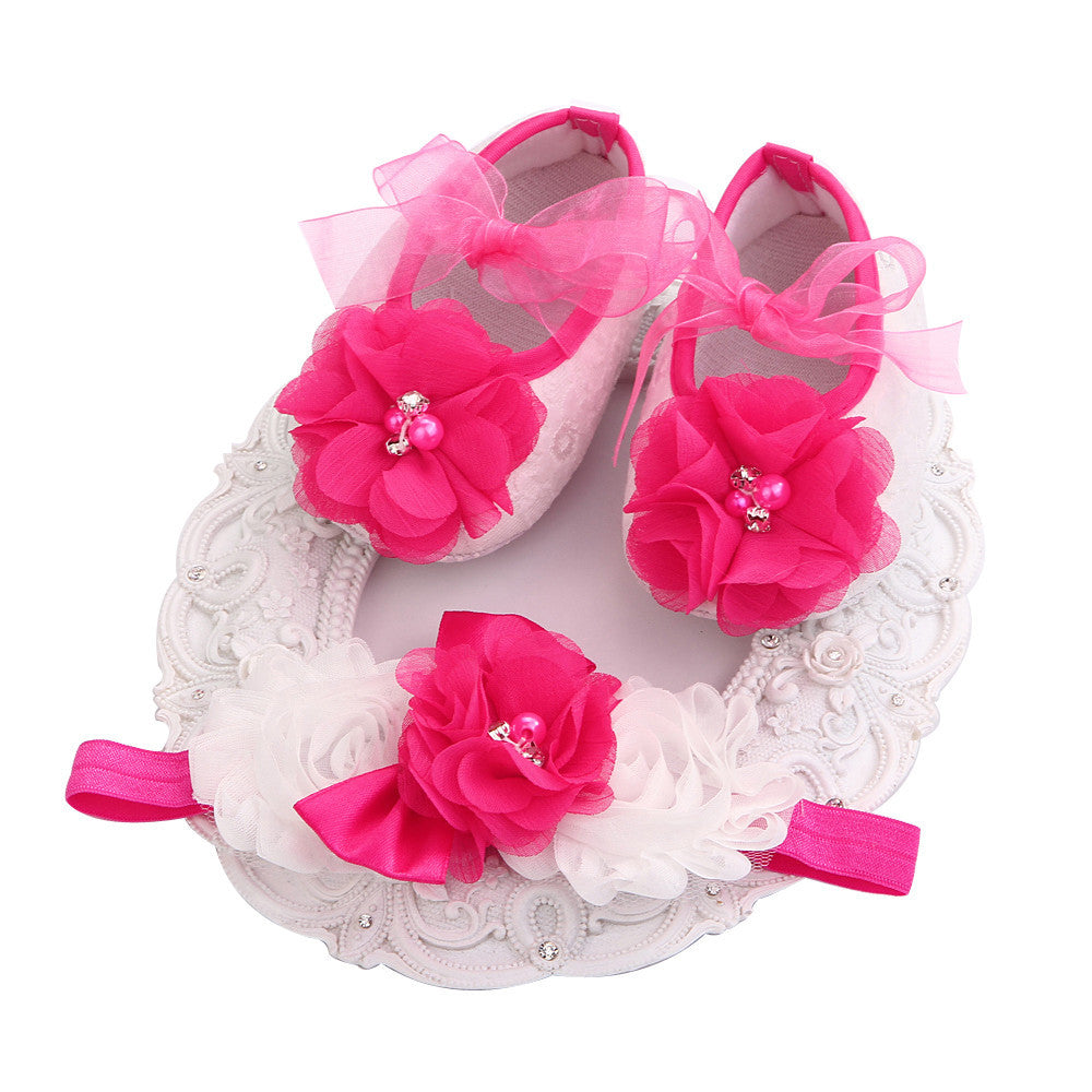Fairy Collection Set Magenta Bead Flowers Shoes Fairy Lace