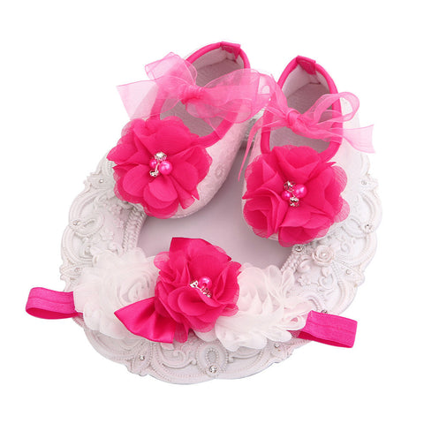 Fairy Collection (Set) : Magenta Bead Flowers Shoes & Fairy Lace Headband For Baby Girl (In One Set)! (Item Code : FCM1)