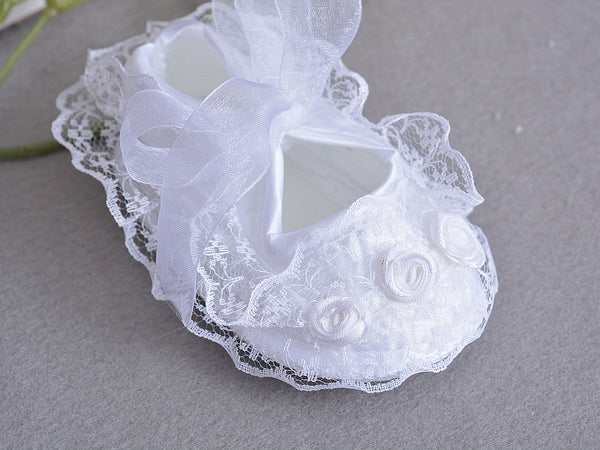 Flowers Shoes & Princess Lace Headband For Cute Baby Girl (In One Set)!