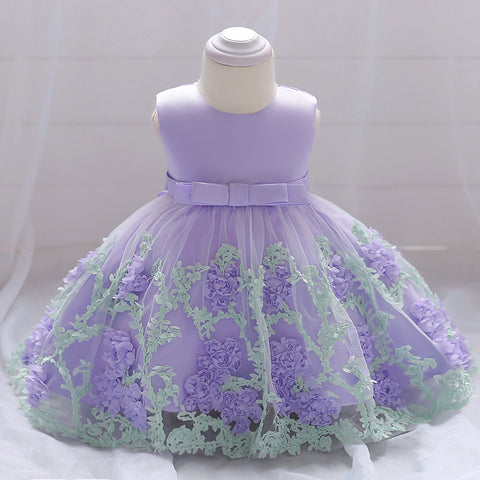 Baby Girl Dress Flowers Eye-Catching Dress (3-12 Months)