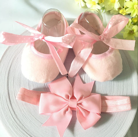 Pink Ribbon Shoes & Princess Lace Headband For Cute Baby Girl (In One Set)!