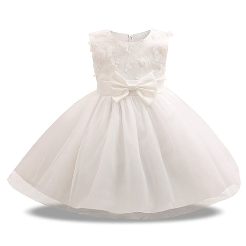 Girl Princess Flower Bow Knot Lace Baby Girls Party Dress